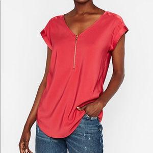 Express Satin Gramercy Top Zipper Blouse Red Large
